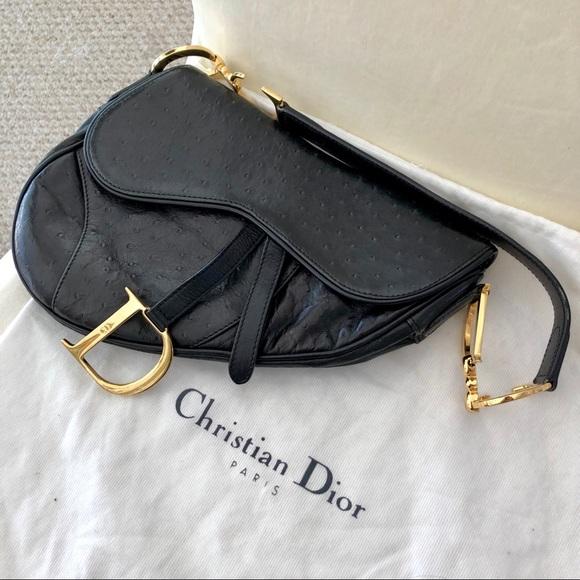 1880c94278b0 Dior Handbags - Dior Saddle Bag Black Ostrich Leather Vintage